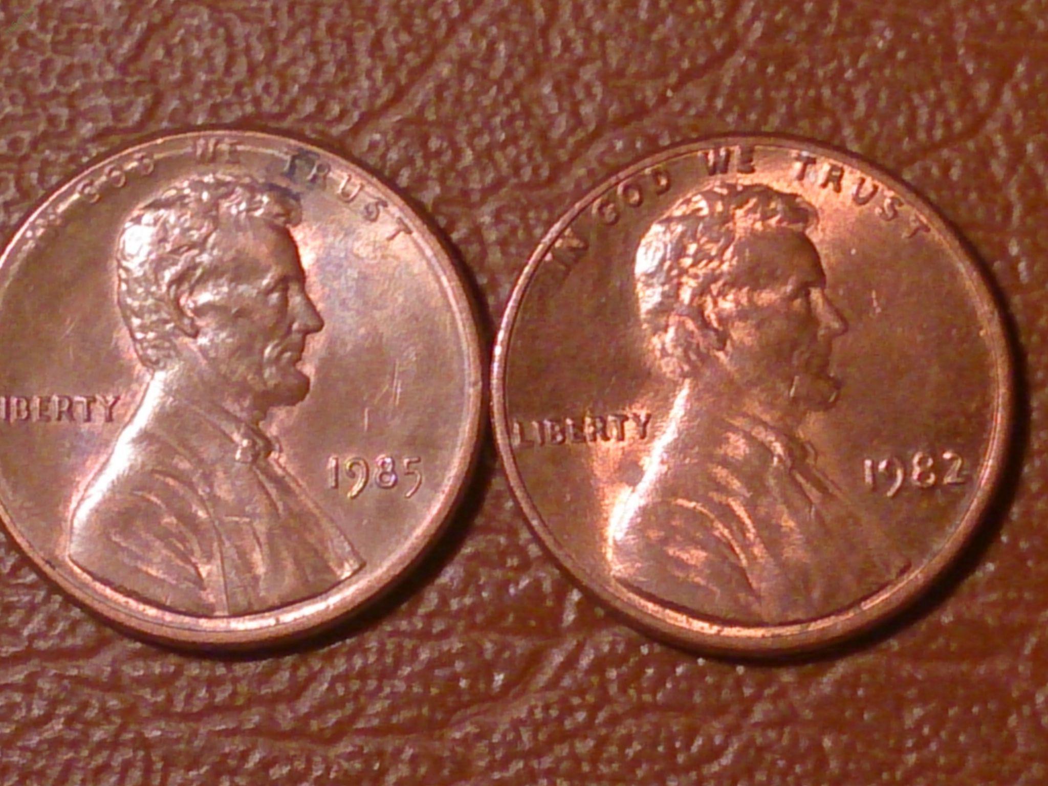 Купить 1 центов 1985 и 1982 год, две монеты одним лотом, сша.