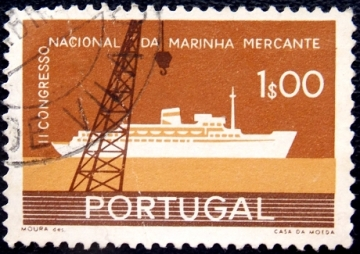 "Португалия 1958 год . Crane and Passenger Ship ""Santa Maria"" ."