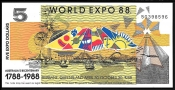 Австралия 5 долларов 1988 года World Expo
